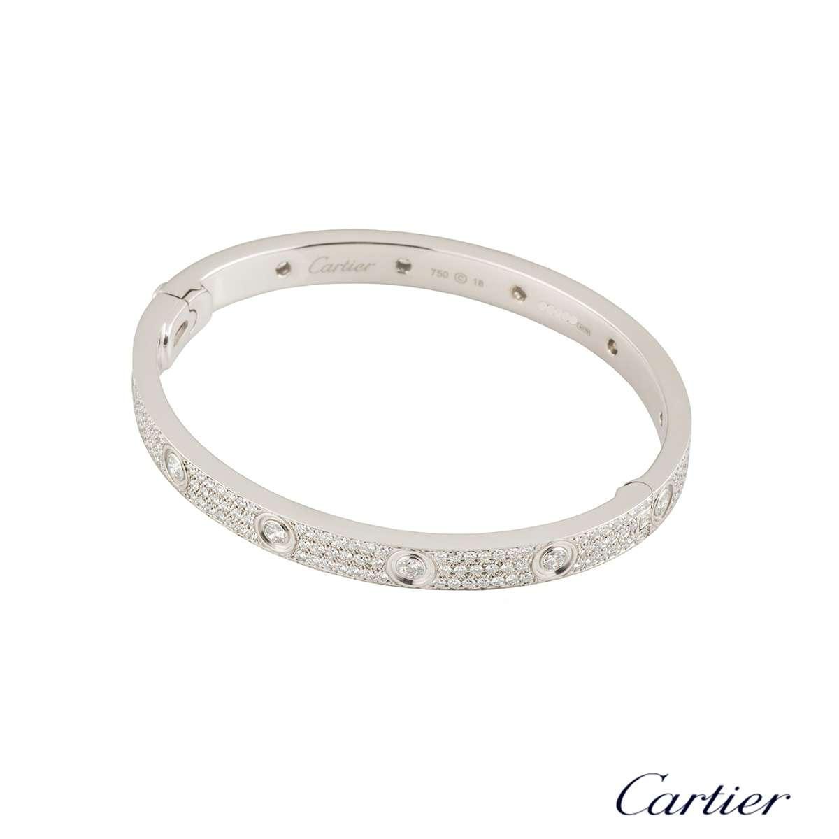 cartier white gold pave diamond love bracelet size 18